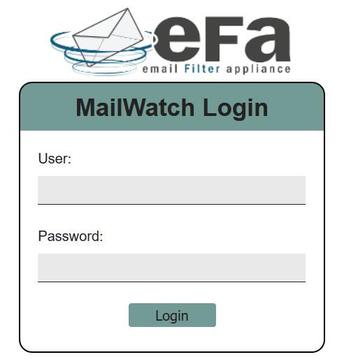 EFA bejelentkező képernyő